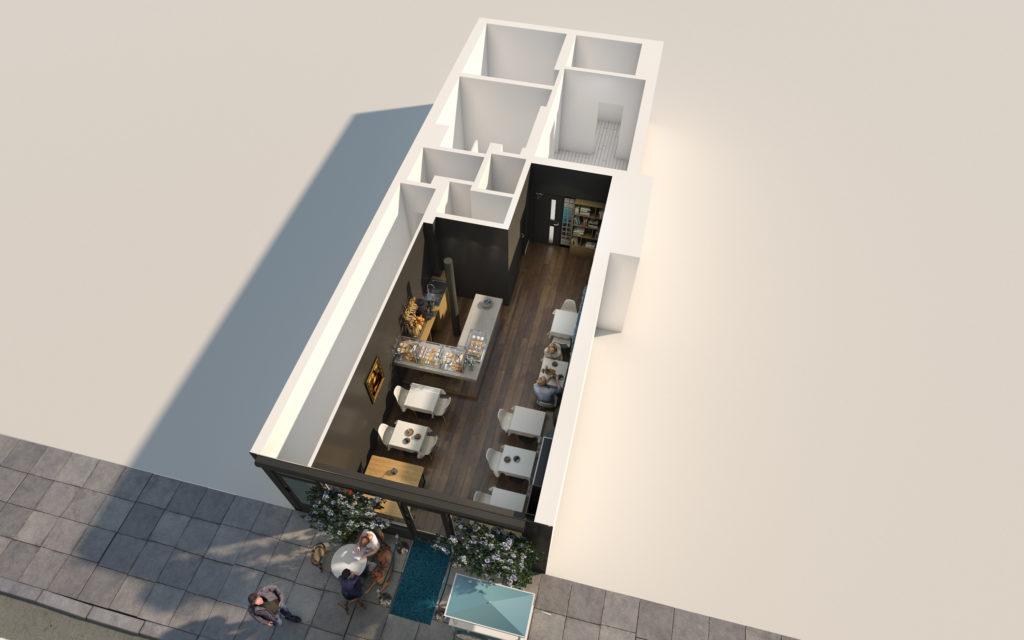 Plans 3D d'aménagement - Espace restauration d'une boulangerie