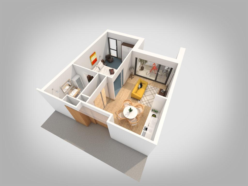 Axonométries 3D et plans de vente - foyer logement